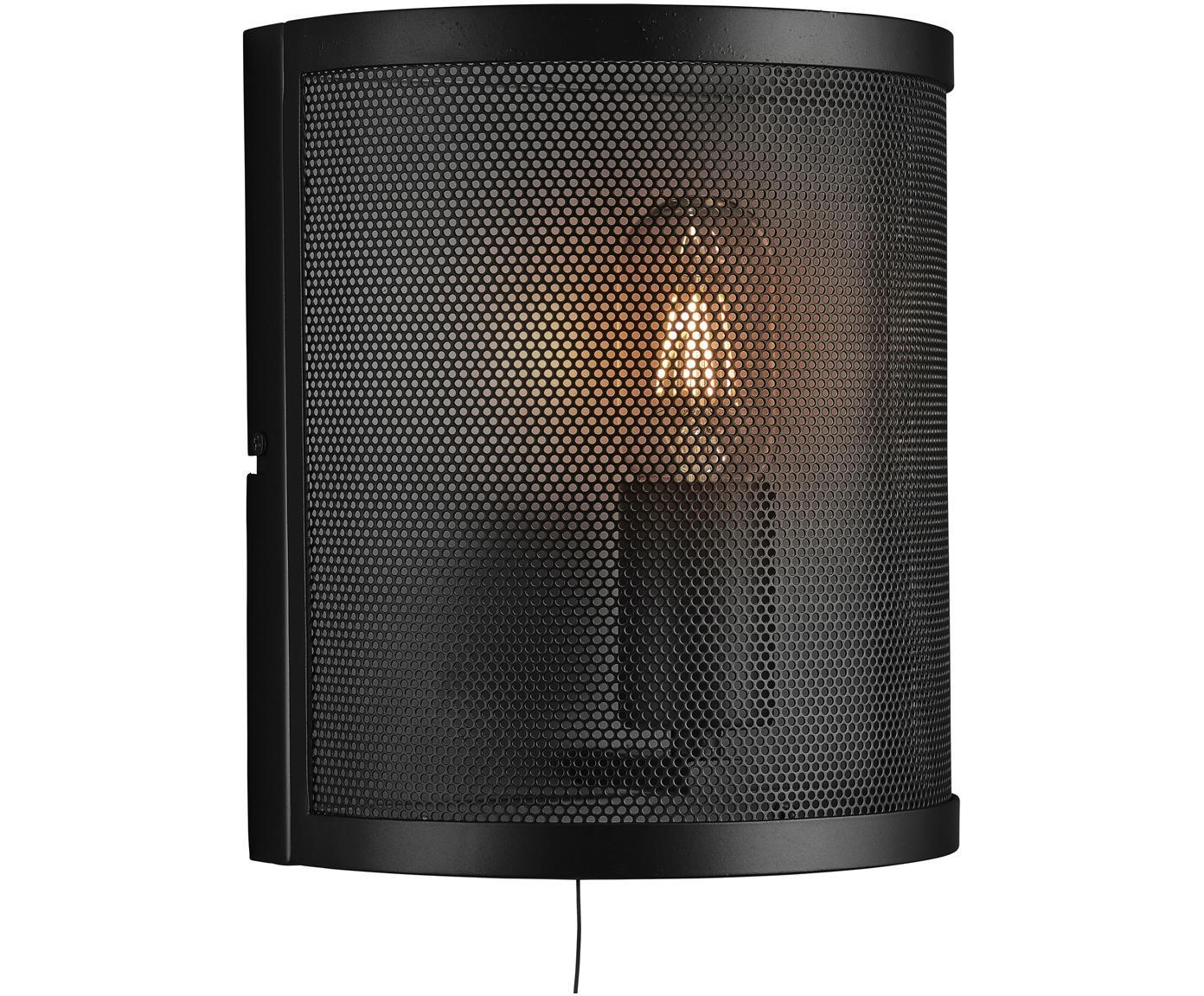 Wandlamp Fishnet, Gelakt metaal, Zwart, 20 x 23 cm