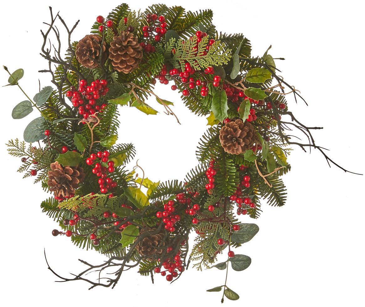 Decoratieve kerstkrans Addy, Kunststof (PVC), Groen, rood, Ø 40 x H 10 cm