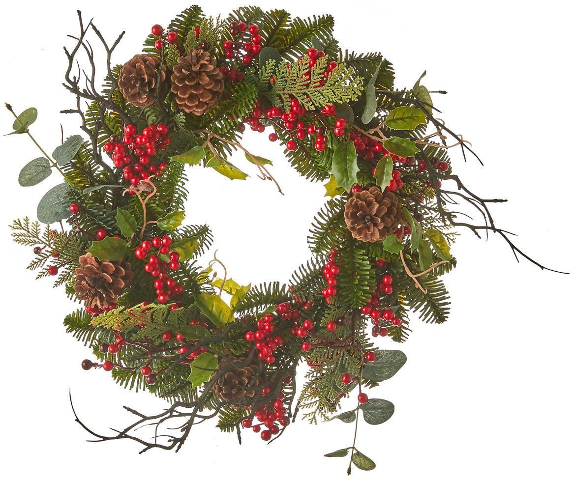 Ghirlanda natalizia con pigne Addy, Materiale sintetico (PVC), Verde, rosso, Ø 40 x Alt. 10 cm