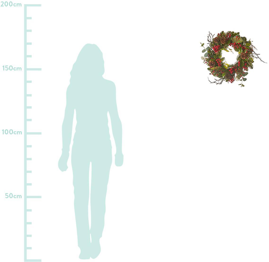 Künstlicher Weihnachtskranz Addy, Kunststoff (PVC), Grün, Rot, Ø 40 x H 10 cm