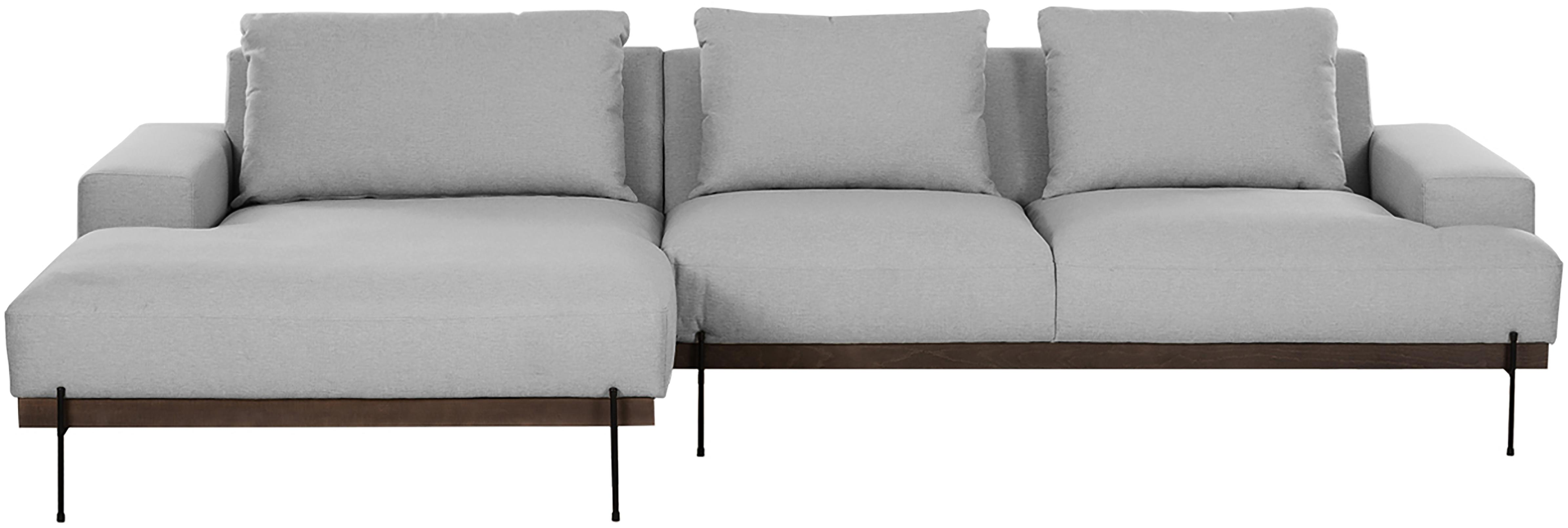 Hoekbank Brooks, Bekleding: polyester, Frame: gelakt grenenhout, Poten: gepoedercoat metaal, Grijs, B 315 x D 148 cm
