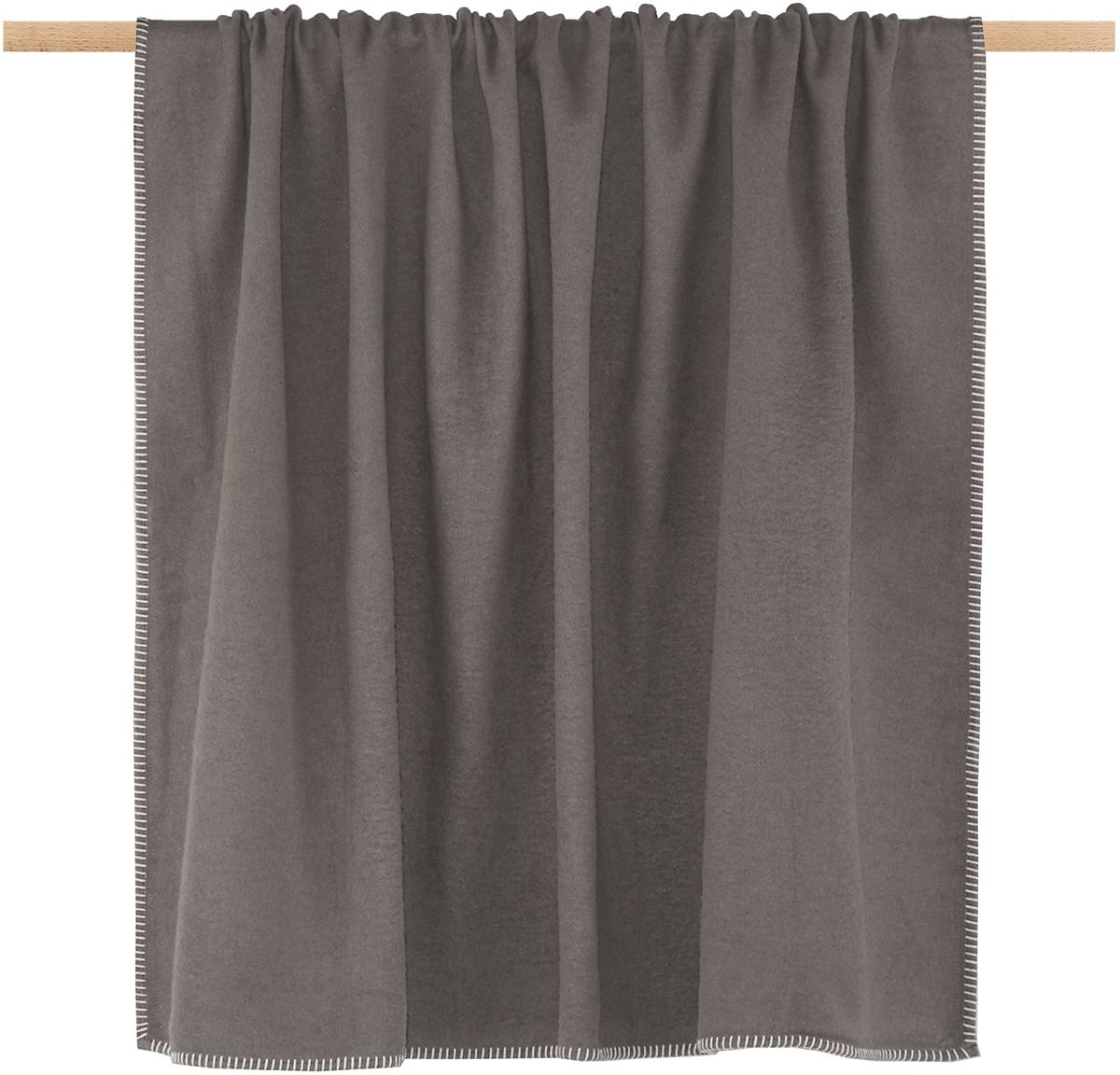 Plaid in pile Sylt in taupe con cucitura, Tessuto: jacquard, Taupe, Larg. 140 x Lung. 200 cm