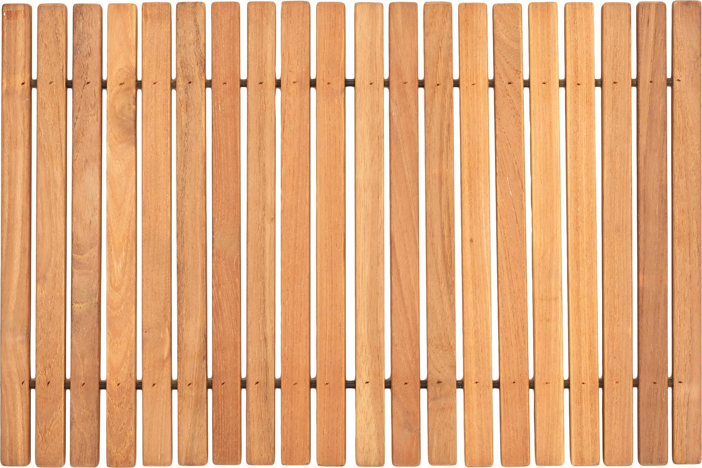 Alfombrilla de baño de madera Anna, Madera de teca Este producto es madera de teca certificada en Indonesia, principalmente proviene de madera sobrante de la producción de muebles., Marrón, An 40 x L 60 cm