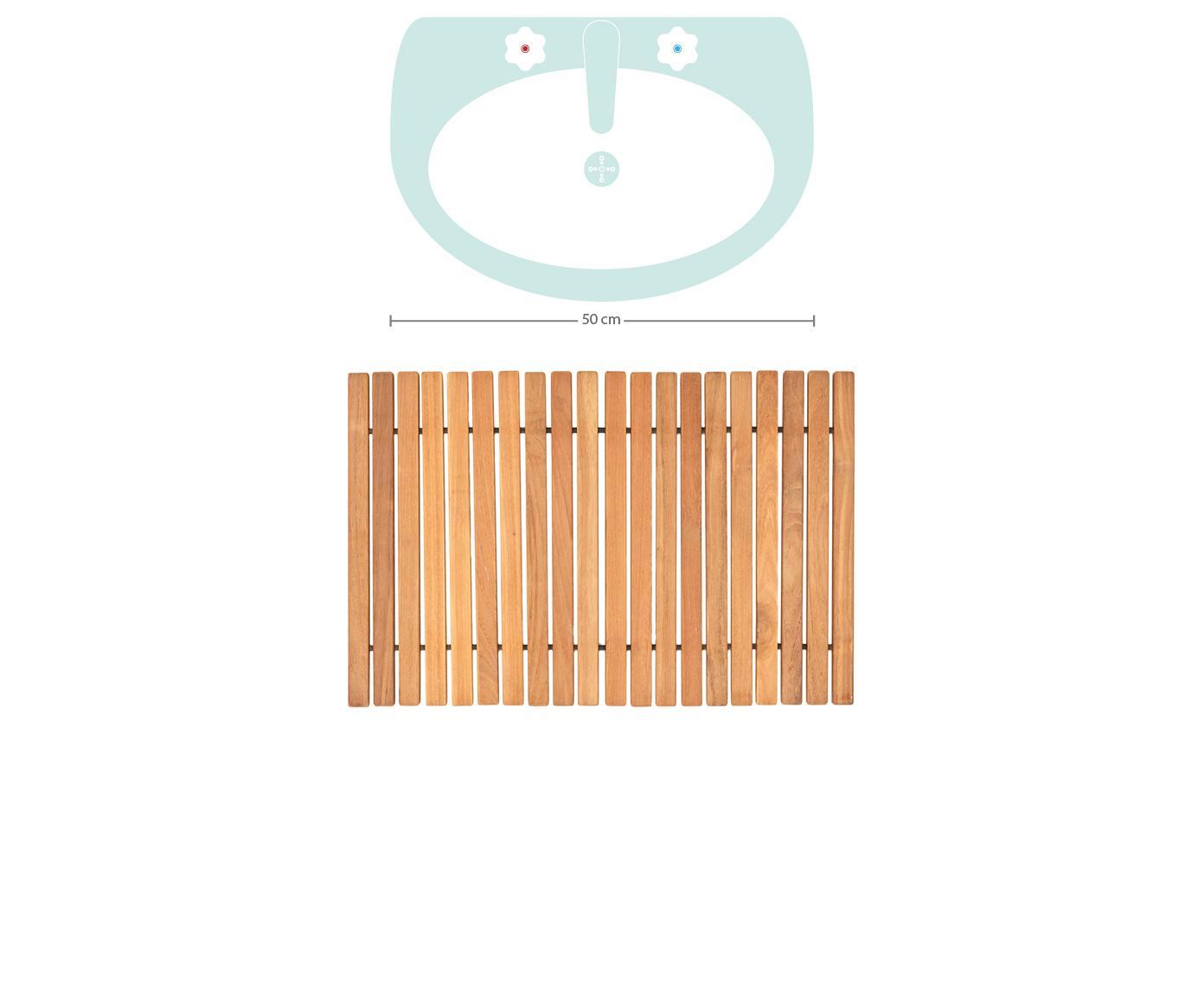 Dywanik łazienkowy z drewna tekowego Anna, Drewno tekowe Produkt wykonany z certyfikowanego drewna tekowego z Indonezji, pochodzącego głównie z nadmiaru drewna powstałego w ramach produkcji mebli., Brązowy, S 40 x D 60 cm