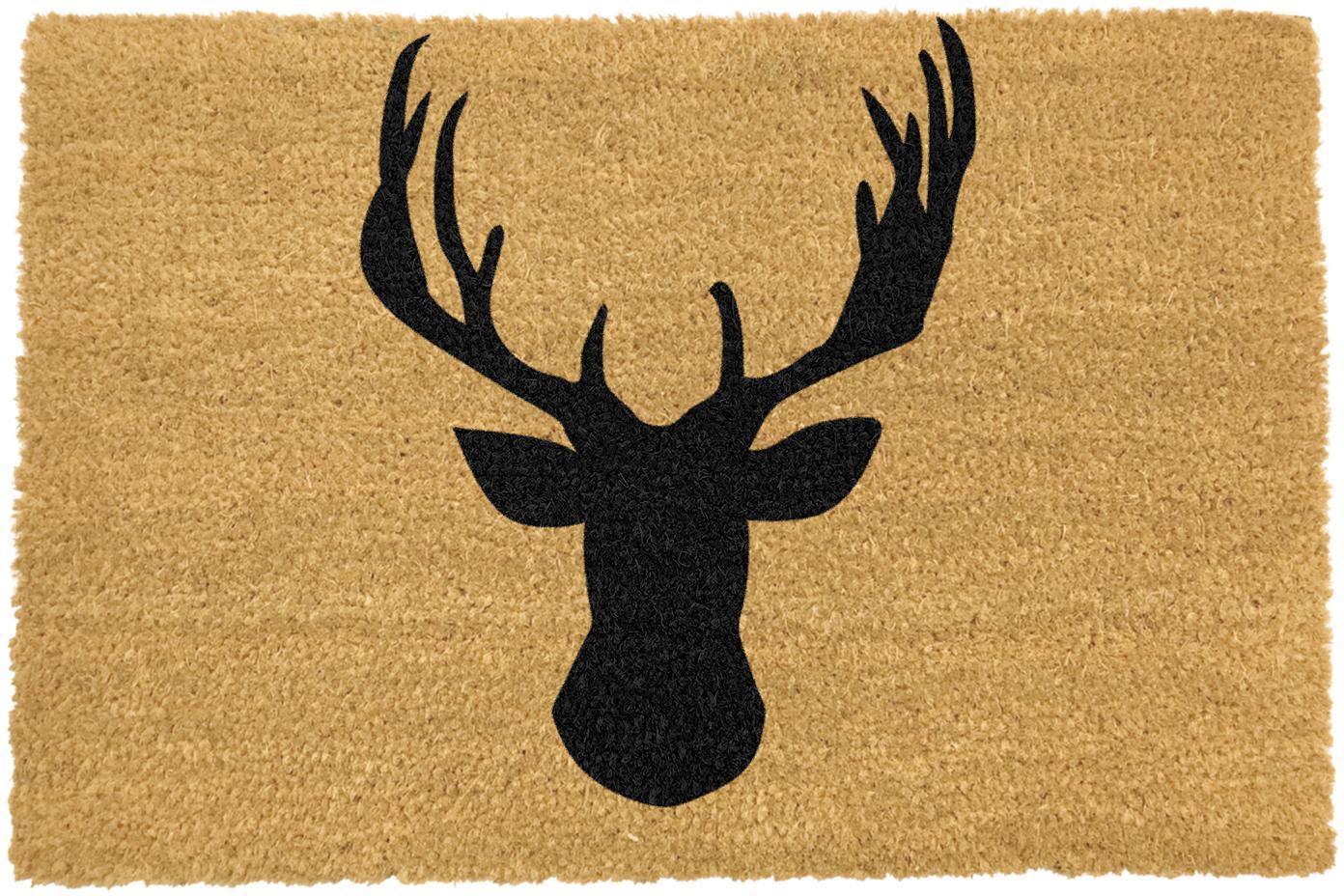 Fußmatte Stagshead, Kokosfaser, Fußmatte: Beige, Schriftzug: Schwarz, 40 x 60 cm