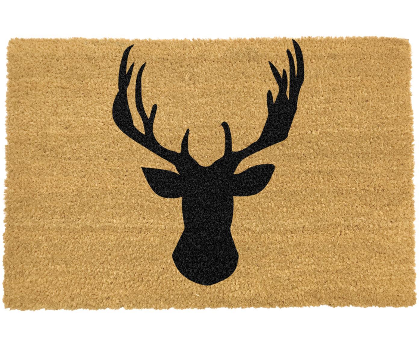 Deurmat Stagshead, Kokosvezels, Deurmat: beige. Opschrift: zwart, 40 x 60 cm
