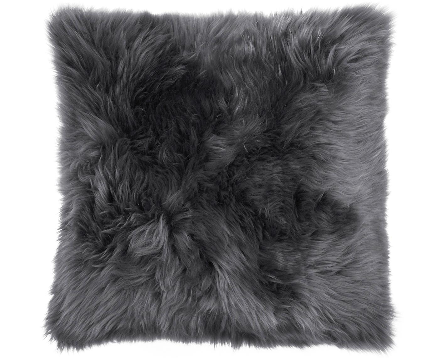 Federa arredo in pelliccia di pecora Oslo, Retro: lino, Fronte: grigio scuro retro: grigio scuro, Larg. 40 x Lung. 40 cm