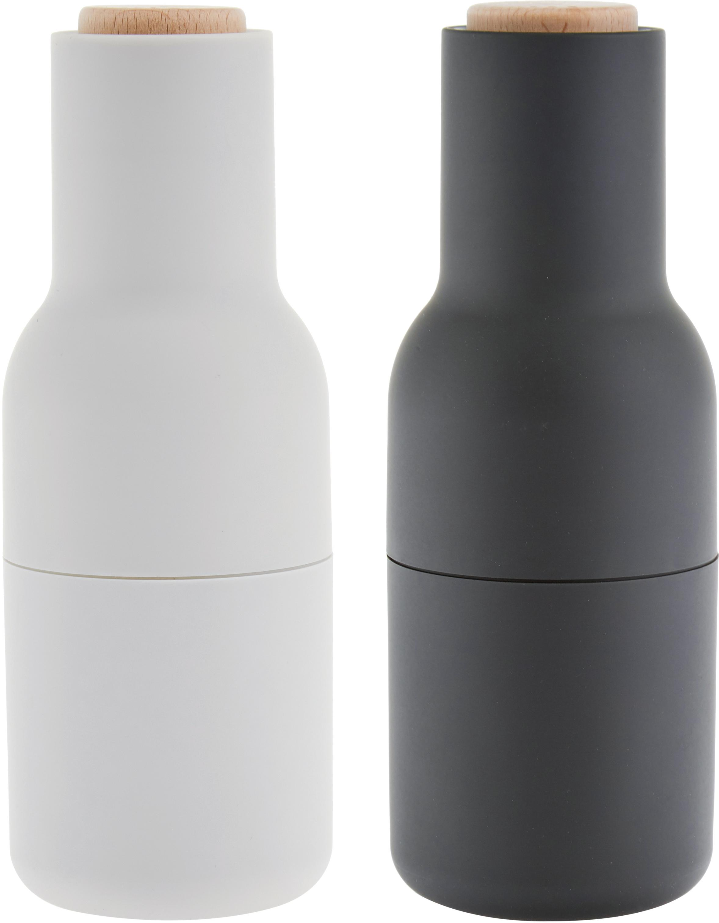 Peper- en zoutmolen Bottle Grinder, 2-delig, Frame: kunststof, Deksel: hout, Antraciet, lichtgrijs, bruin, Ø 8 x H 21 cm