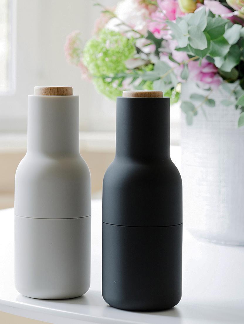 Komplet młynków do przypraw Bottle Grinder, 2 elem., Korpus: tworzywo sztuczne, Antracytowy, jasny szary, brązowy, Ø 8 x W 21 cm