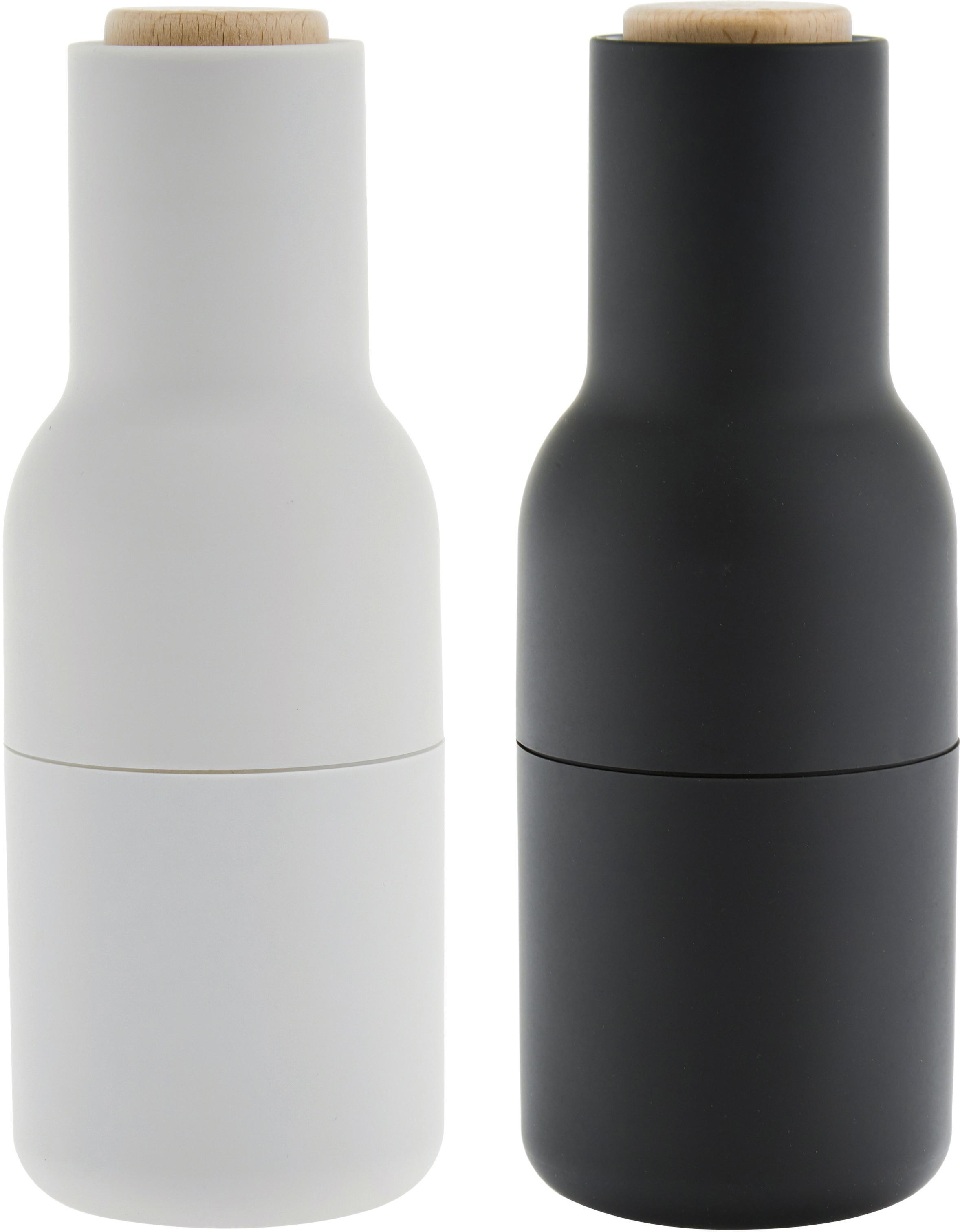 Designer peper- en zoutmolen Bottle Grinder met RVS deksel, Frame: kunststof, Deksel: hout, Antraciet, lichtgrijs, bruin, Ø 8 x H 21 cm