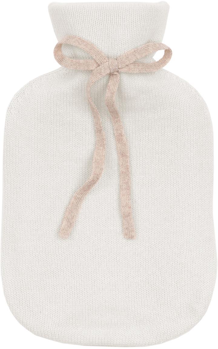 Bolsa de agua caliente de cachemira Florentina, Funda: 70%cachemira, 30%lana m, Funda: blanco crema Lazo: beige Bolsa de agua caliente: blanco crema, An 19 x L 30 cm