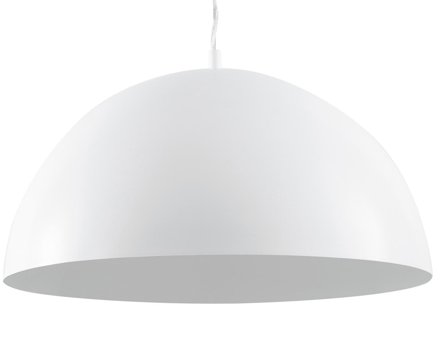 Lampada a sospensione Brad, Baldacchino: metallo verniciato a polv, Paralume: metallo verniciato a polv, Bianco, Ø 53 x Alt. 25 cm