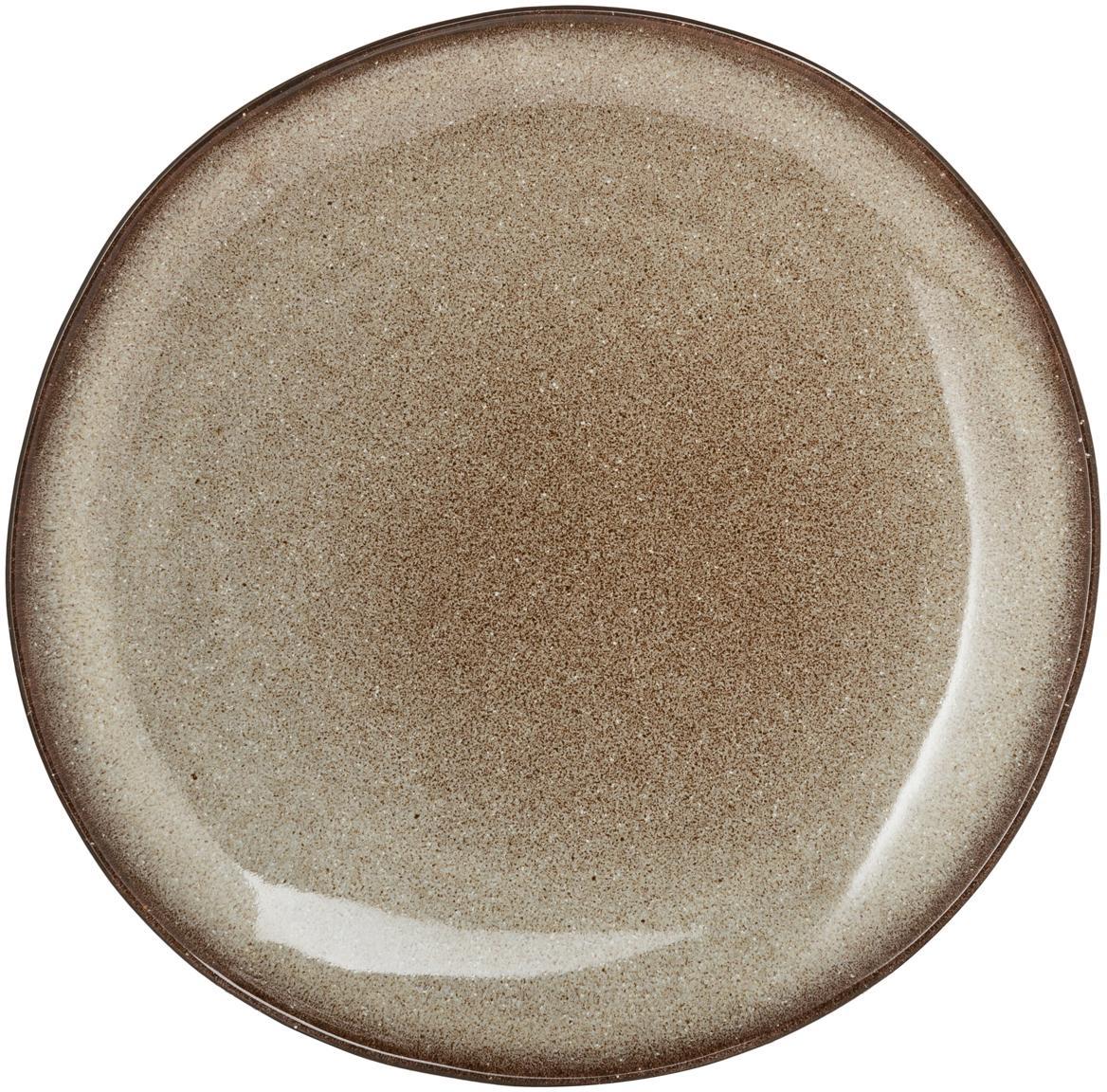 Plato artesanal Sandrine, Gres, Tonos beige, Ø 22 x Al 2 cm