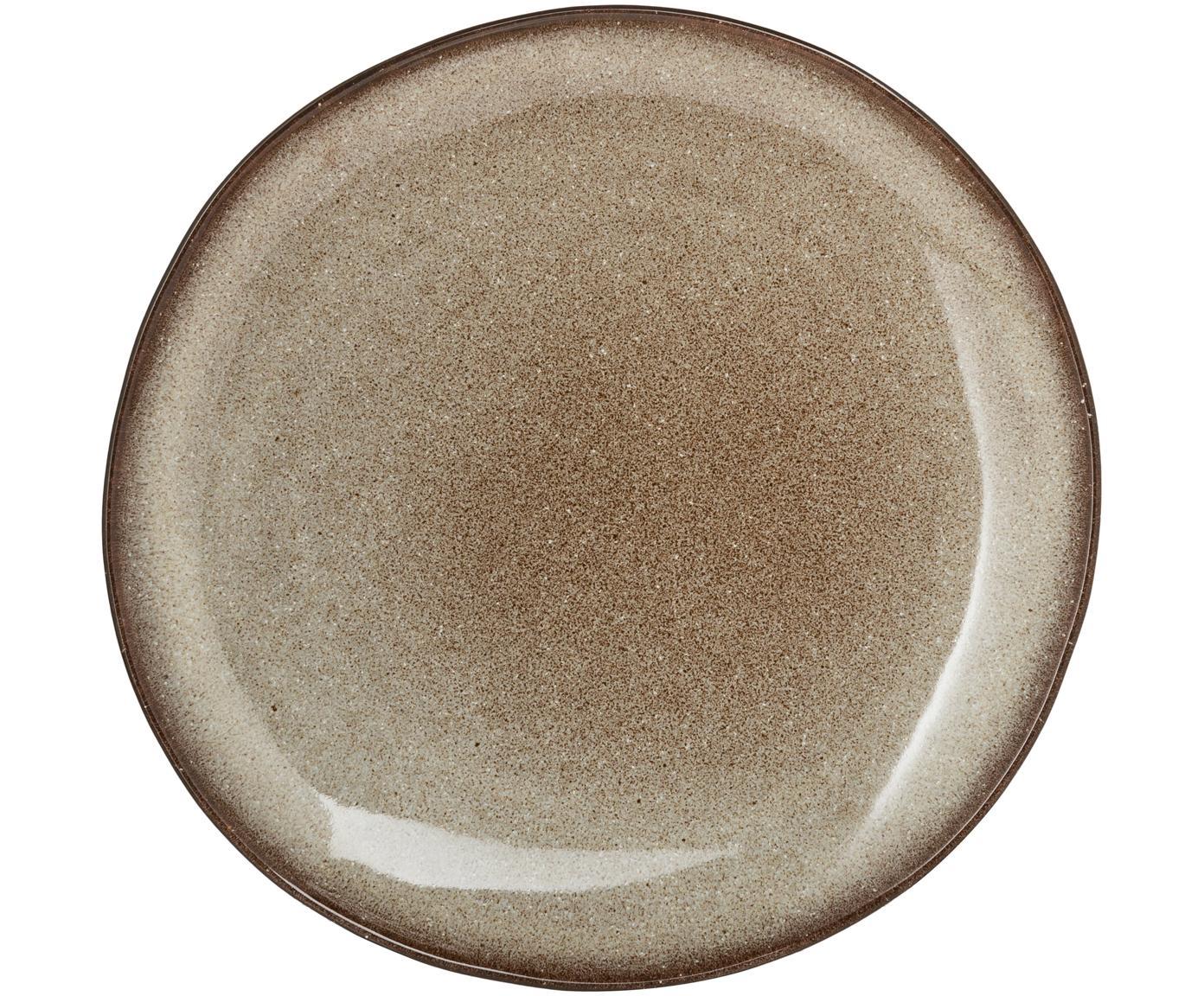 Handgemaakt ontbijtbord Sandrine, Keramiek, Lichtgrijs, beige, Ø 22 x H 2 cm