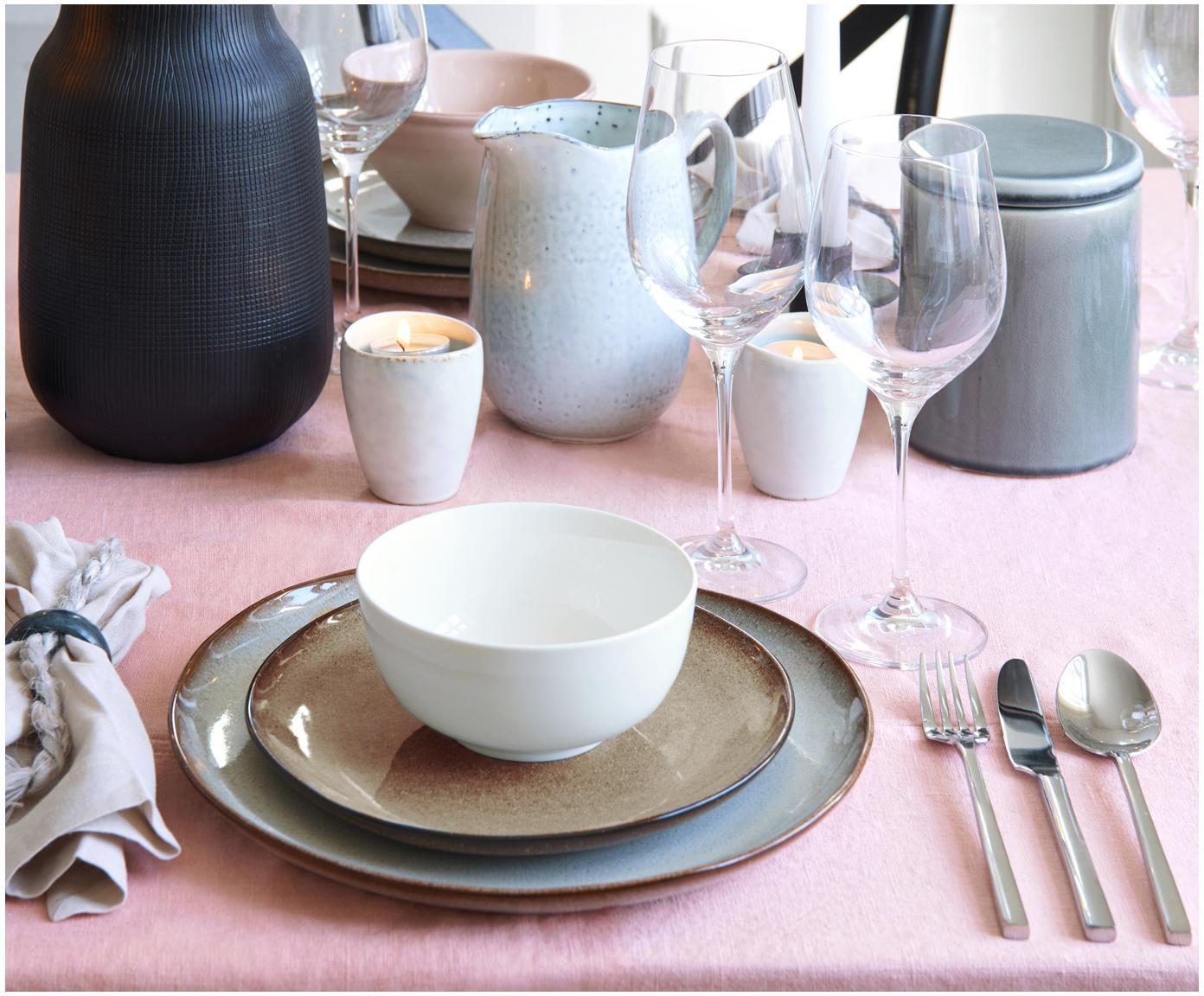 Assiette plate faite à la main Sandrine, Gris clair, beige