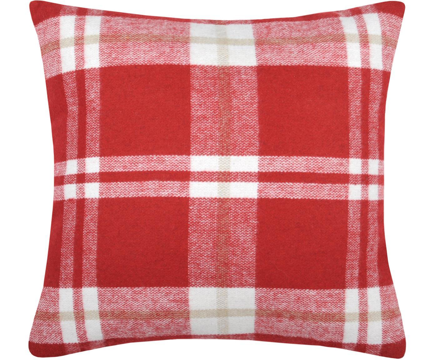 Karierte Kissenhülle Granier, 95% Polyester, 5% Wolle, Rot, Weiss, Beige, 40 x 40 cm