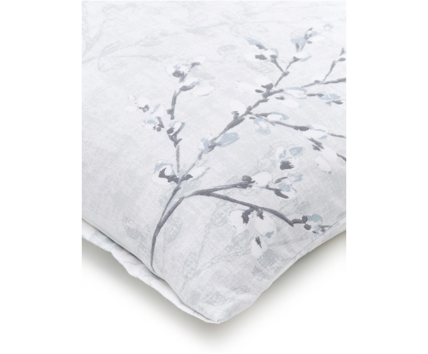 Biber-Wendebettwäsche Deluxe mit Blätter-/Zweigmotiven, Webart: Biber Biber wird aus eine, Hellblau, 135 x 200 cm + 1 Kissen 80 x 80 cm
