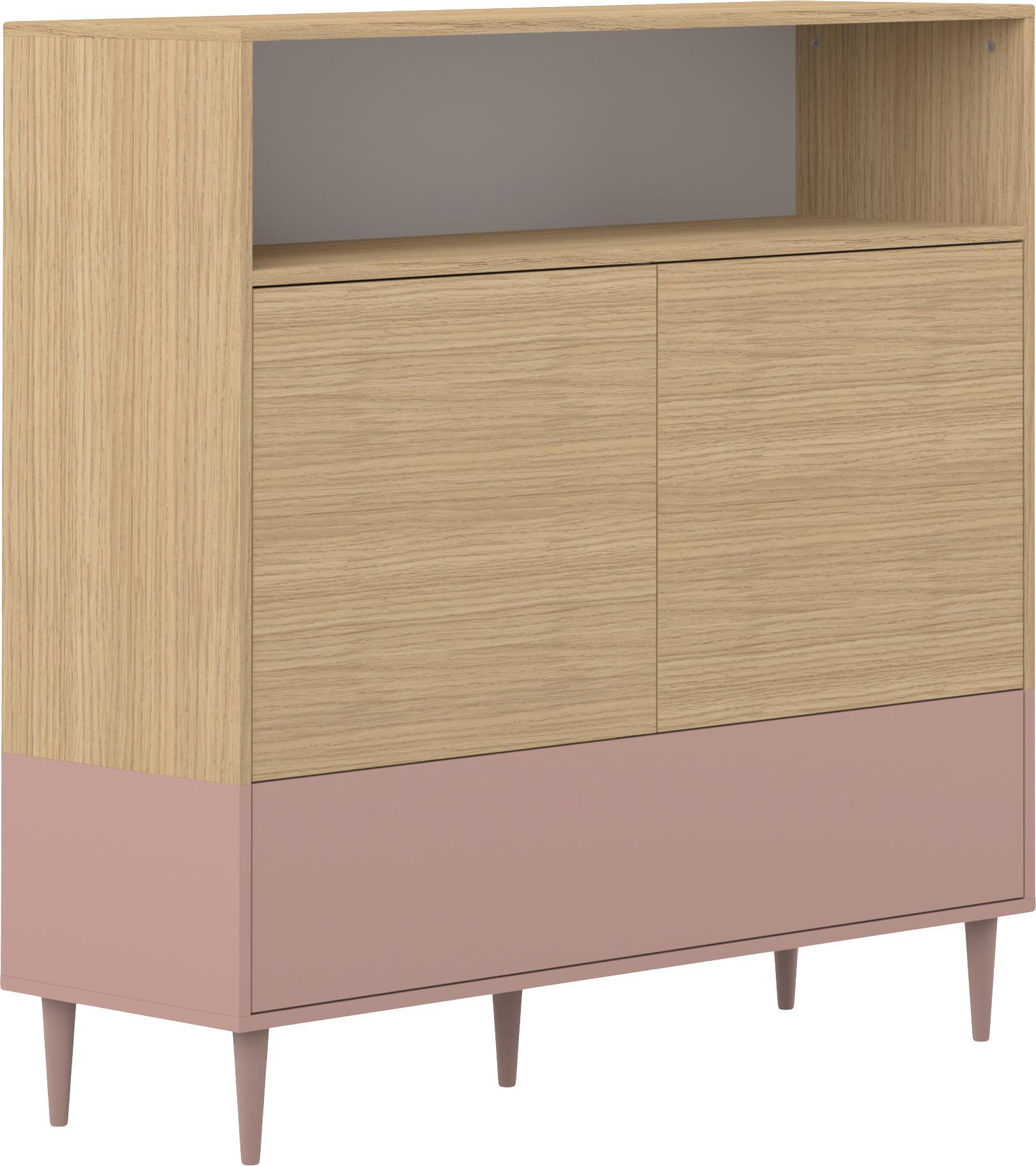 Highboard Horizon im Skandi Design, Korpus: Spanplatte, melaminbeschi, Füße: Buchenholz, massiv, lacki, Eichenholz, Altrosa, 120 x 121 cm