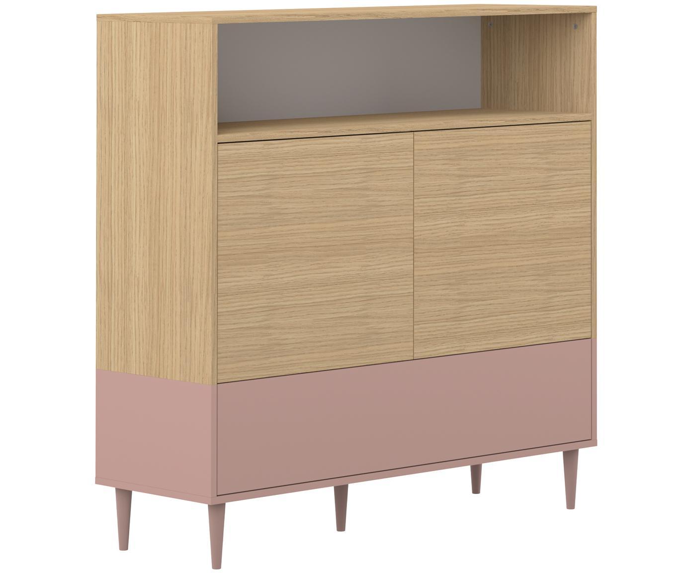 Highboard Horizon im Skandi Design, Korpus: Spanplatte, melaminbeschi, Eichenholz, Altrosa, 120 x 121 cm