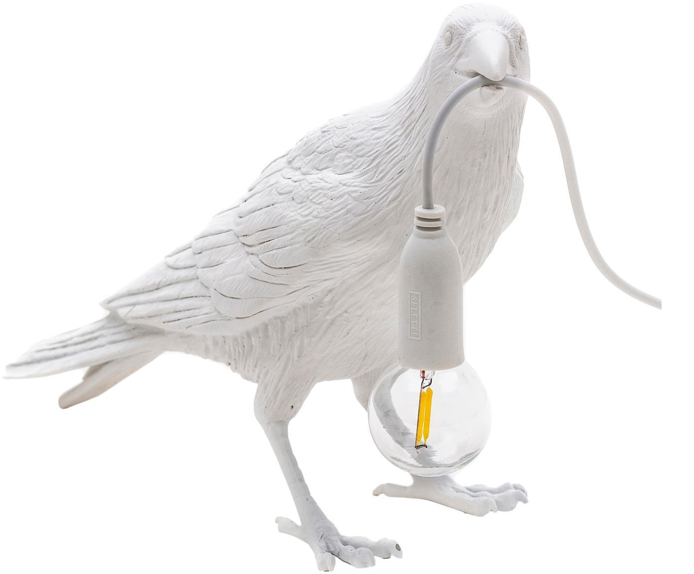 Lámpara de mesa de diseño Bird, Cable: plástico, Blanco, An 33 x Al 12 cm