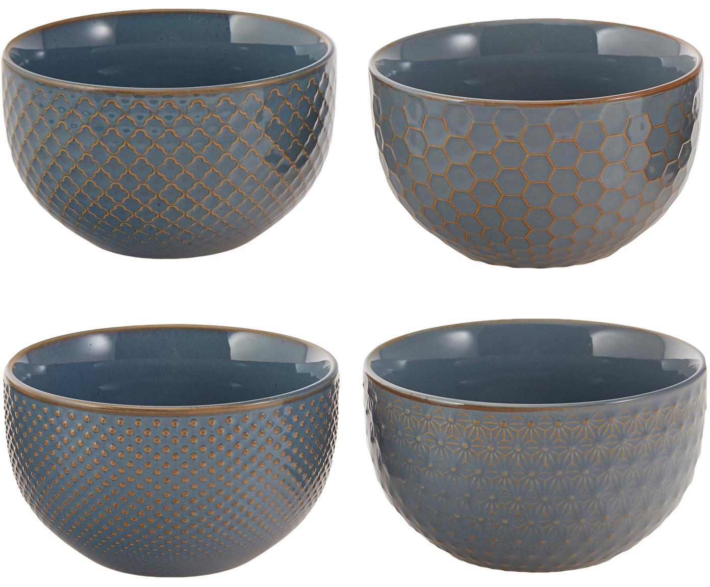 Set de cuencos Lara, 4pzas., Gres, Gris azulado, Ø 13 x Al 8 cm