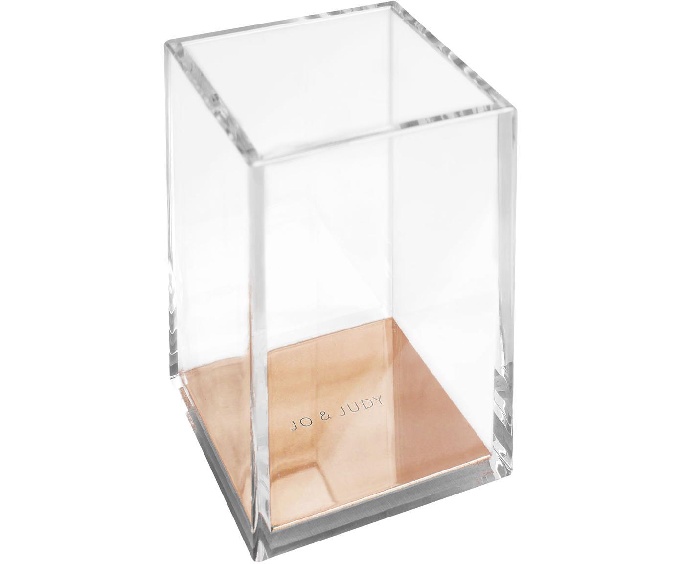 Pennenhouder Alea, Kunststof, metaal, kurk, Transparant, roségoudkleurig, 8 x 11 cm