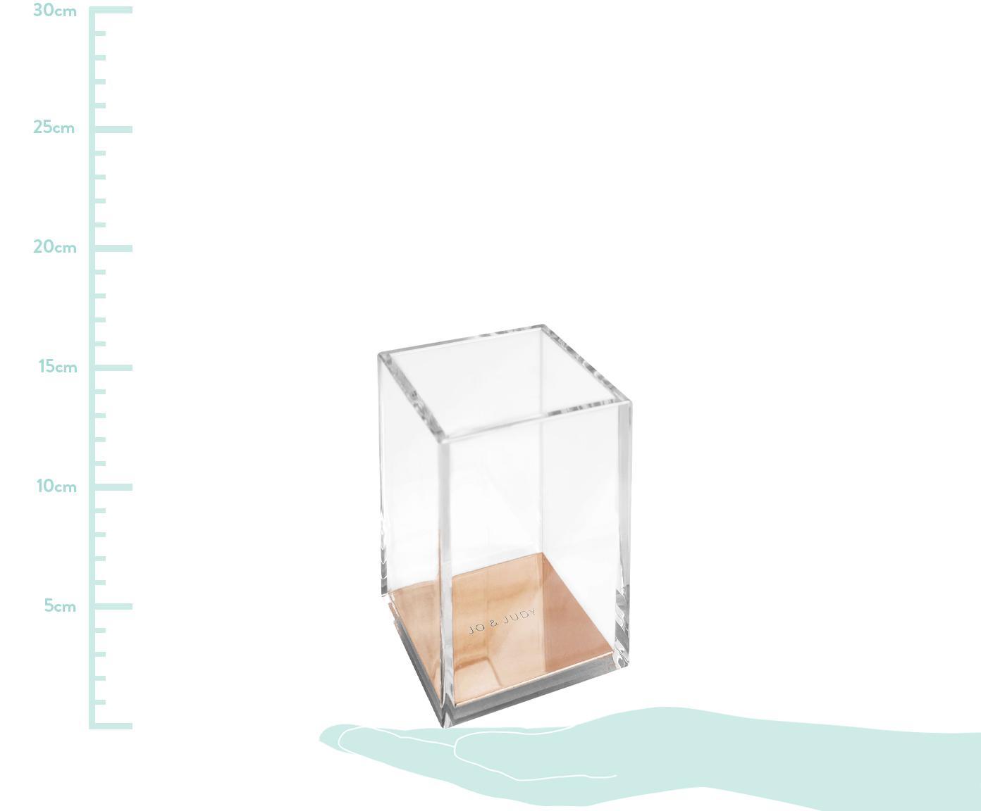 Stiftehalter Alea, Kunststoff, Metall, Kork, Transparent, Roségoldfarben, 8 x 12 cm