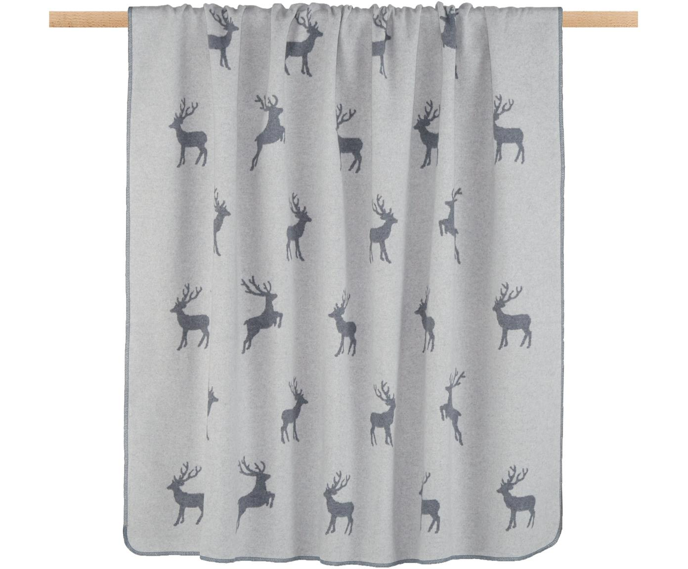 Manta doble cara de tela polar Silvretta Hirsch, 85%algodón, 8%viscosa, 7%poliacrílico, Antracita, gris, An 140 x L 200 cm