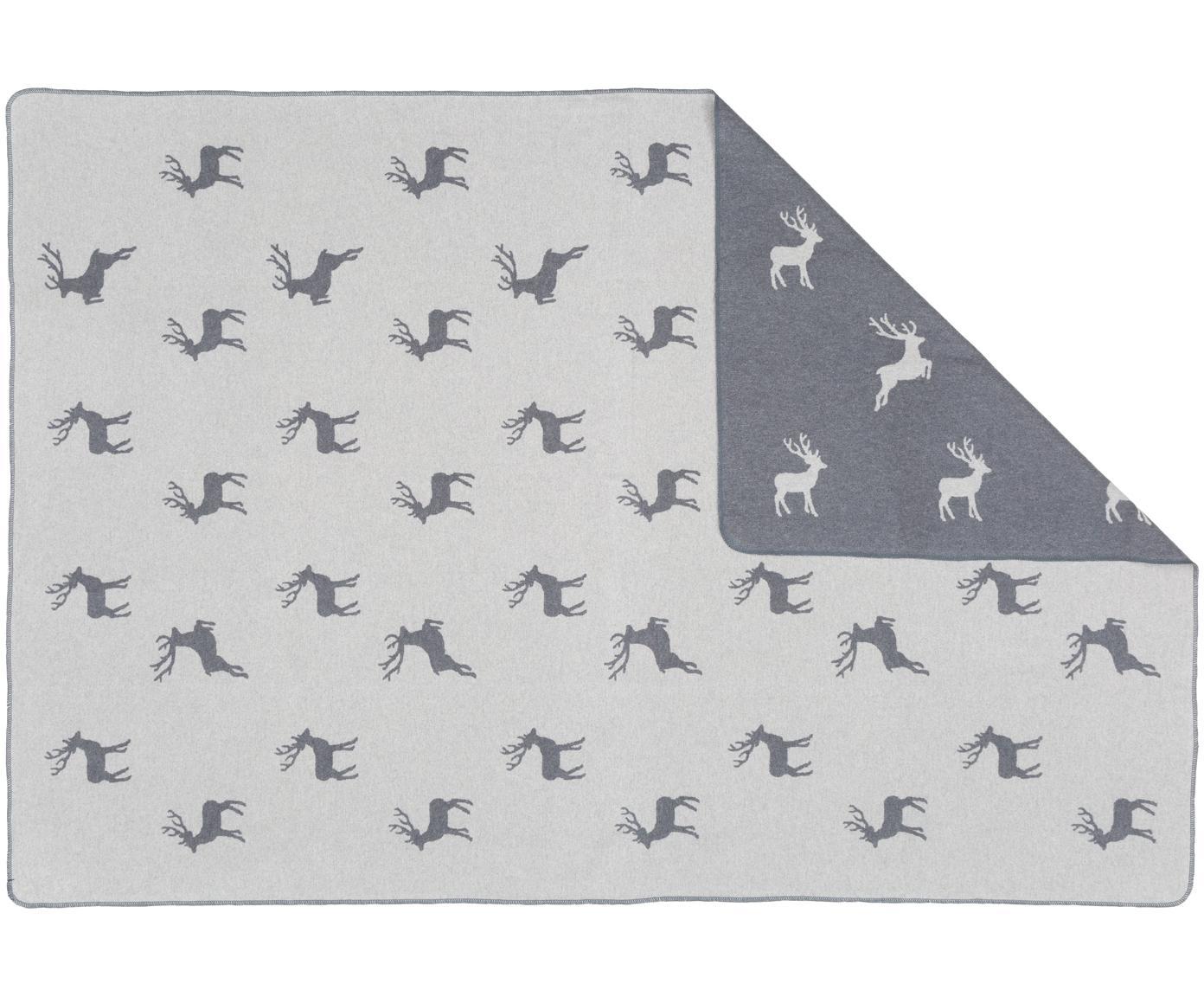 Fleece-Wendeplaid Silvretta Hirsch, 85%Baumwolle, 8%Viskose, 7%Polyacryl, Anthrazit, Grau, 140 x 200 cm
