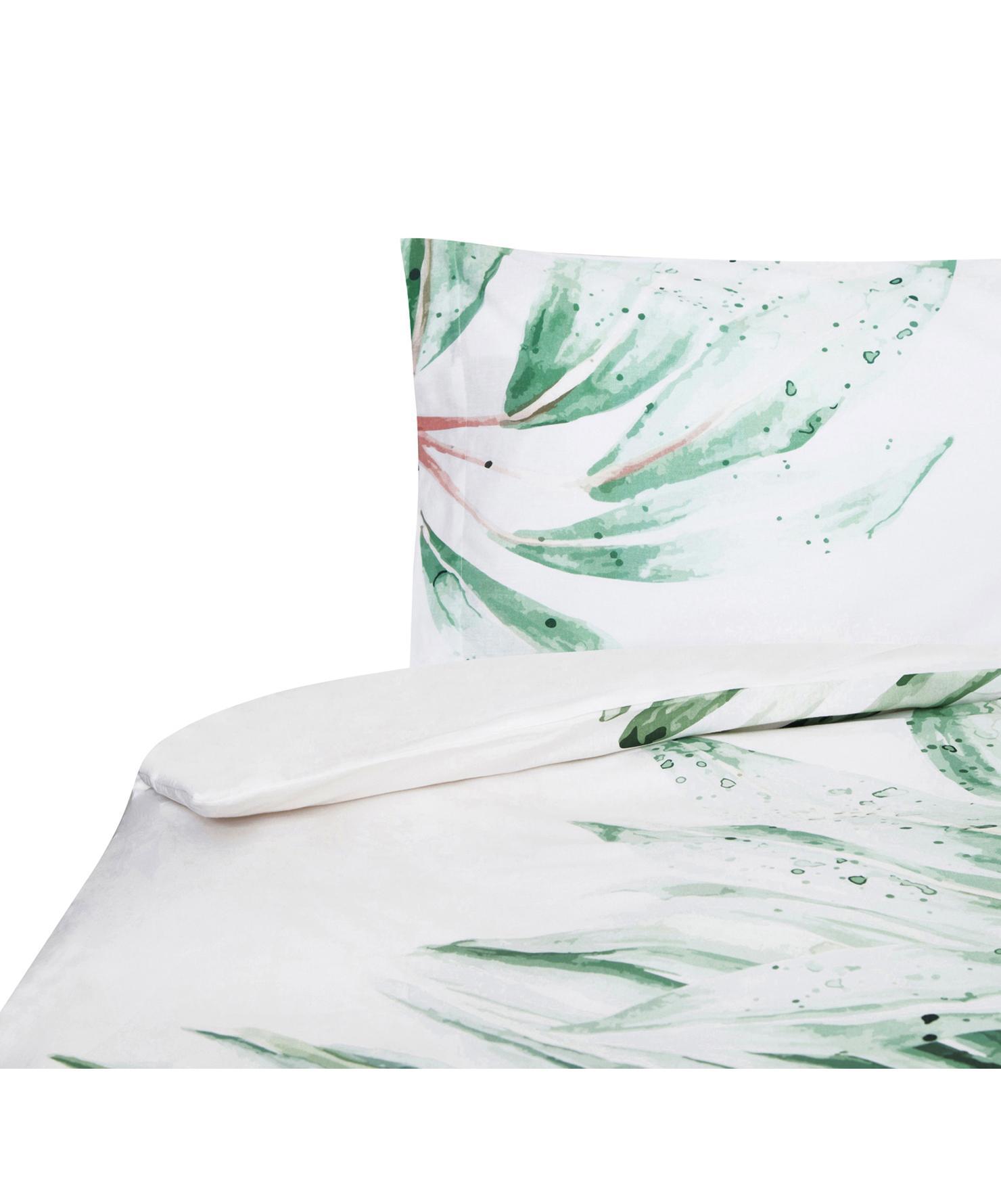Funda nórdica Delicate, Algodón, Blanco, verde, rosa, Cama 90 cm (155 x 200 cm)