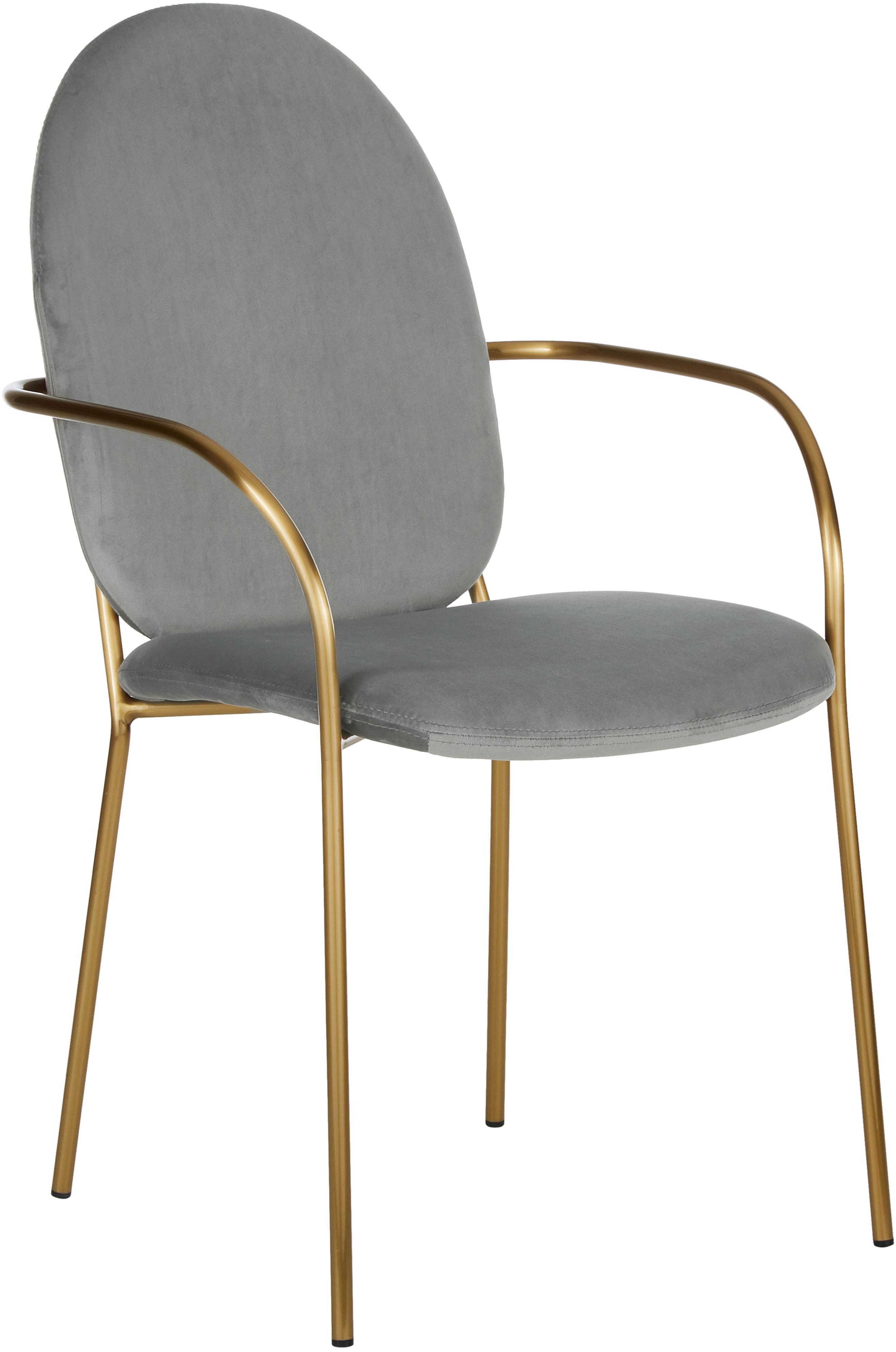 Samt-Armlehnstuhl Mary, Bezug: Samt (Polyester) 15.000 S, Gestell: Metall, beschichtet, Samt Grau, Beine Gold, B 55 x T 64 cm