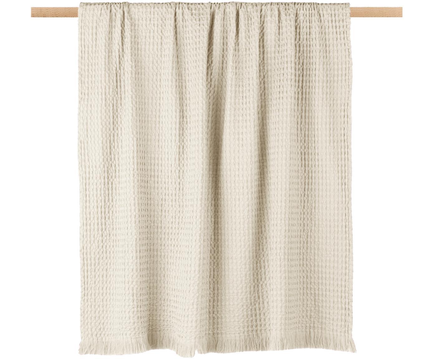 Baumwoll-Plaid Tempy mit strukturierter Oberfläche, 100% Baumwolle, Hellbeige, 130 x 200 cm
