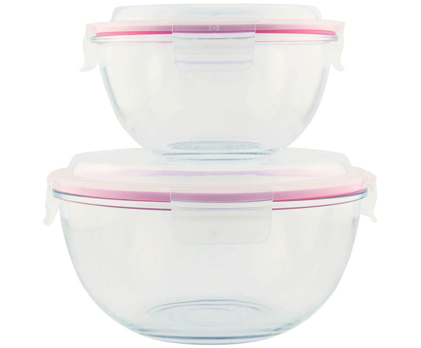 Set contenitori da insalata Lilo, 2 pz., Contenitore: vetro temperato, privo di, Trasparente,rosa, Diverse dimensioni