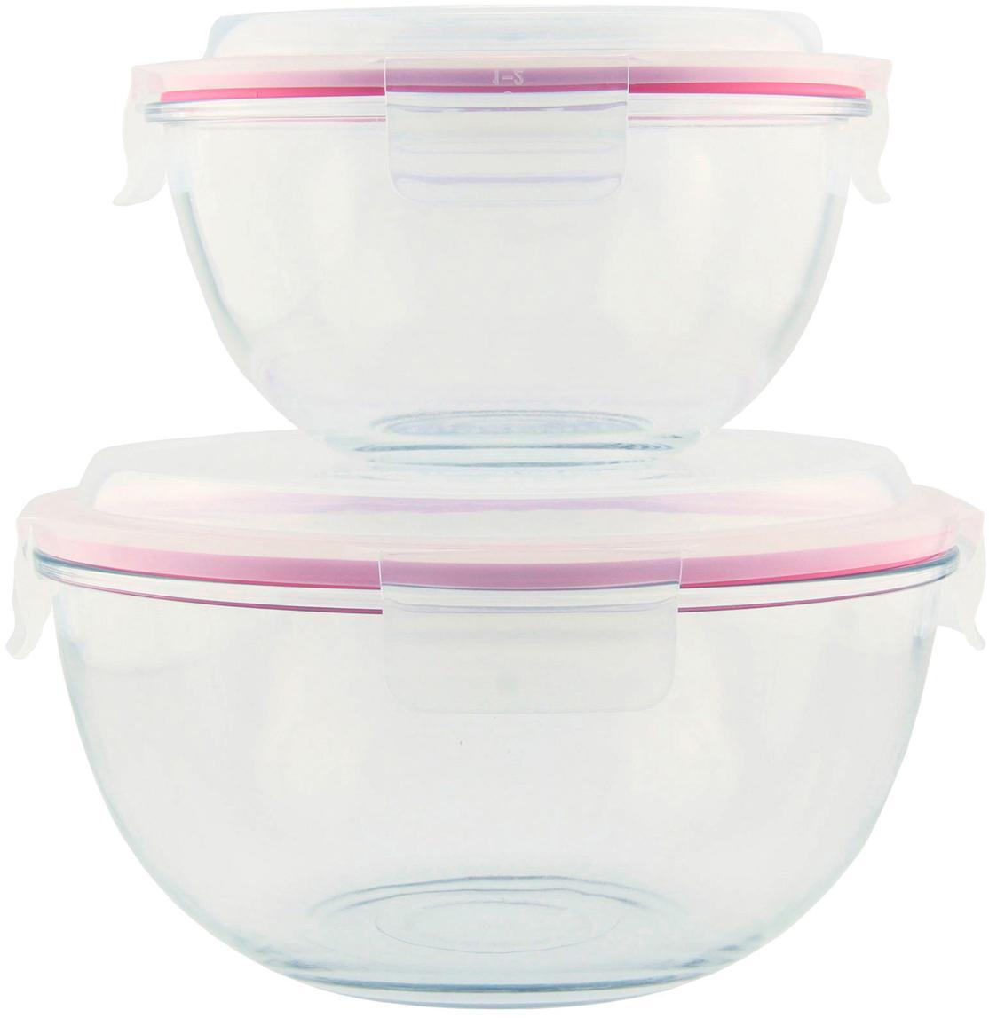 Set de boles herméticos Lilo, 2pzas., Recipiente: vidrio templado, libre de, Transparente, rosa, Set de diferentes tamaños