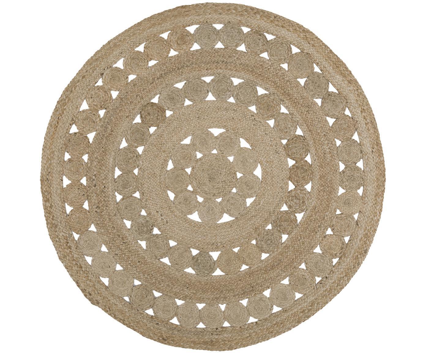 Tappeto rotondo in juta fatto a mano Shyam, Retro: juta, Juta, Ø 150 cm (taglia M)