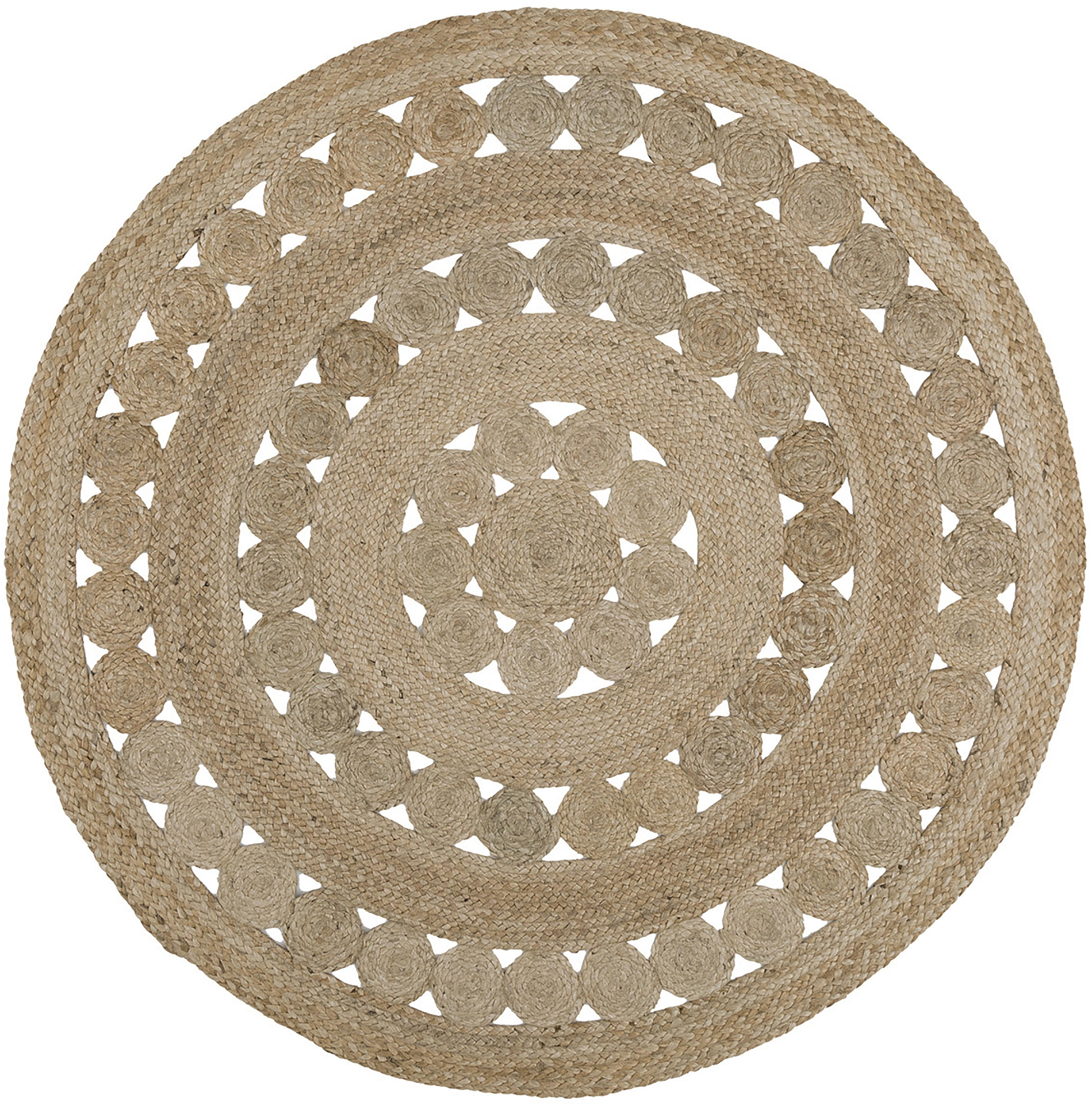 Runder Jute-Teppich Shyam im Boho Style, handgefertigt, Jute, Ø 150 cm (Grösse M)