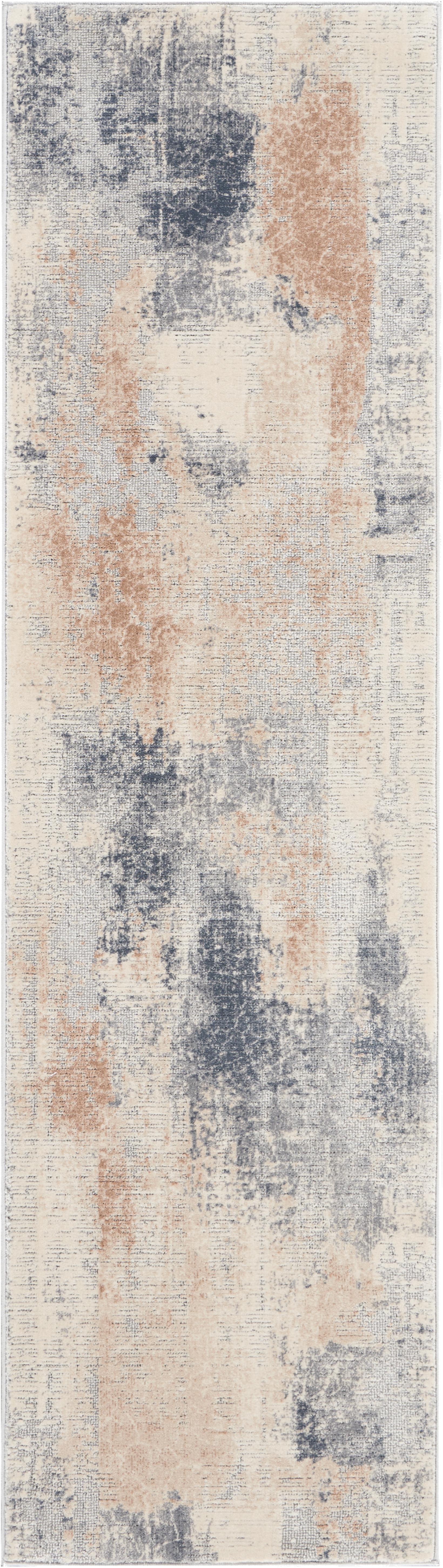 Loper Rustic Textures II, Bovenzijde: 51%polypropyleen, 49%po, Onderzijde: 50%jute, 50%latex, Beigetinten, grijs, 70 x 230 cm