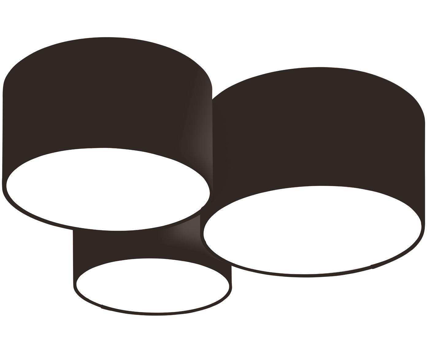 Plafondlamp Luke, Baldakijn: gepoedercoat metaal, Zwart, Ø 61 x H 26 cm
