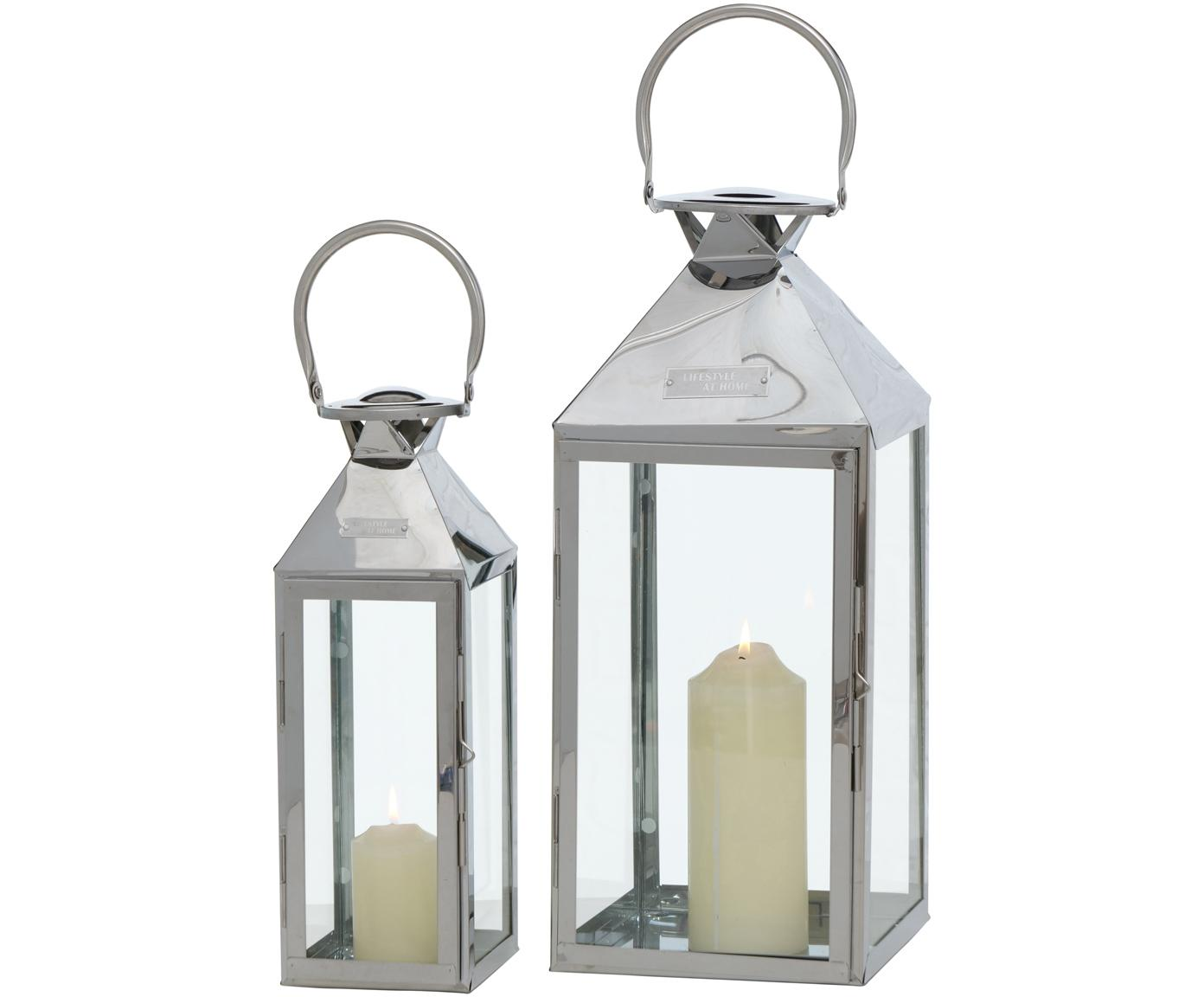 Set de farolillos Jason, 2pzas., Acero inoxidable, vidrio, Plateado, Set de diferentes tamaños