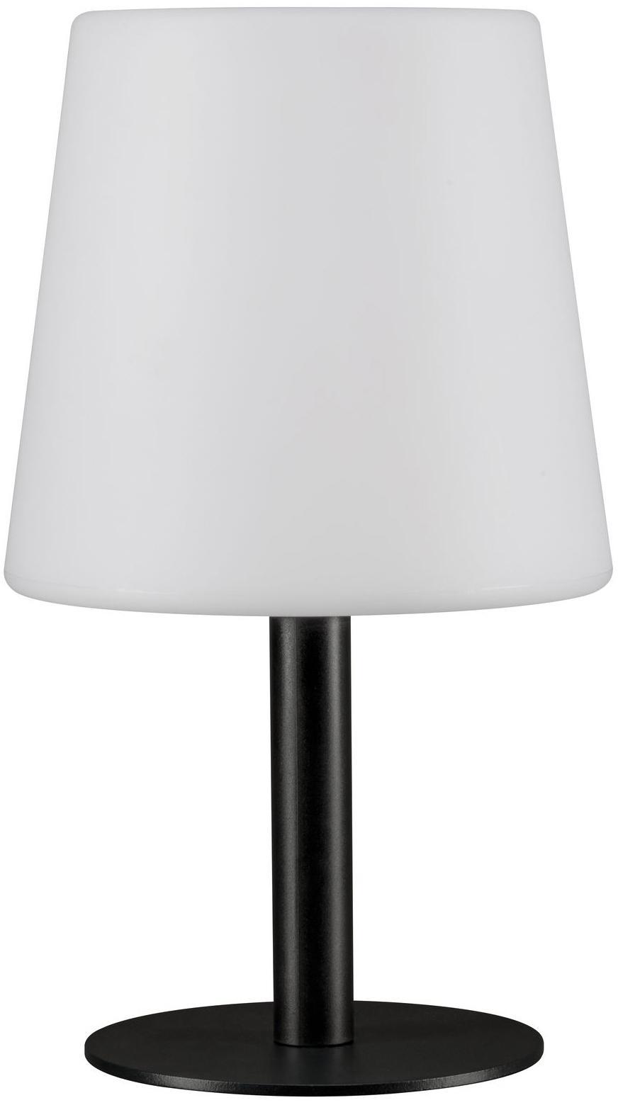 Mobile LED Außentischleuchte Placido, Lampenfuß: Metall, beschichtet, Lampenschirm: Kunststoff, Weiß, Schwarz, Ø 16 x H 26 cm