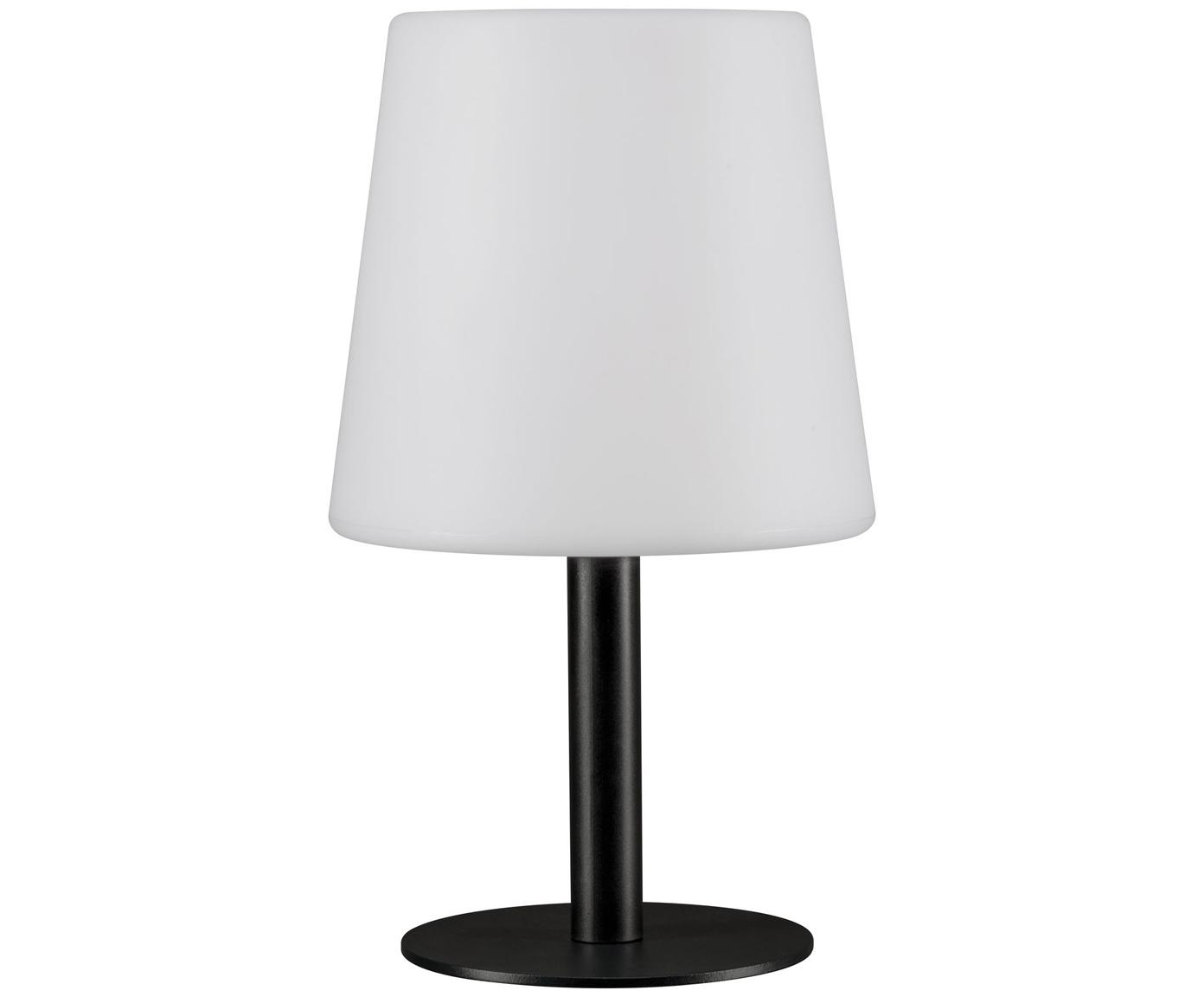 Mobiele outdoor LED tafellamp Placido, Lampvoet: gecoat metaal, Lampenkap: kunststof, Wit, zwart, Ø 16 x H 26 cm