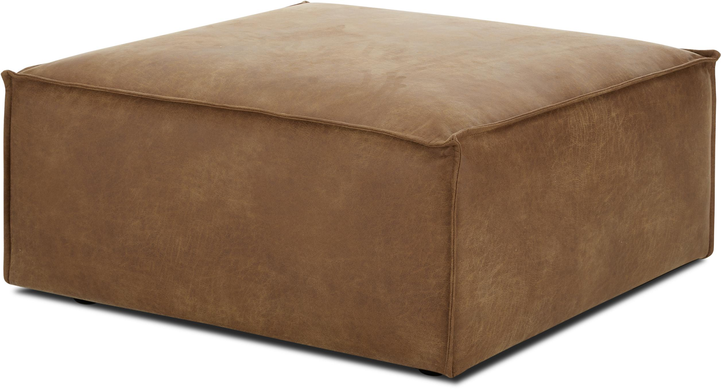Poggiapiedi da divano in pelle marrone Lennon, Rivestimento: 70% pelle, 30% poliestere, Struttura: legno di pino massiccio, , Piedini: materiale sintetico, Pelle marrone, Larg. 88 x Alt. 43 cm