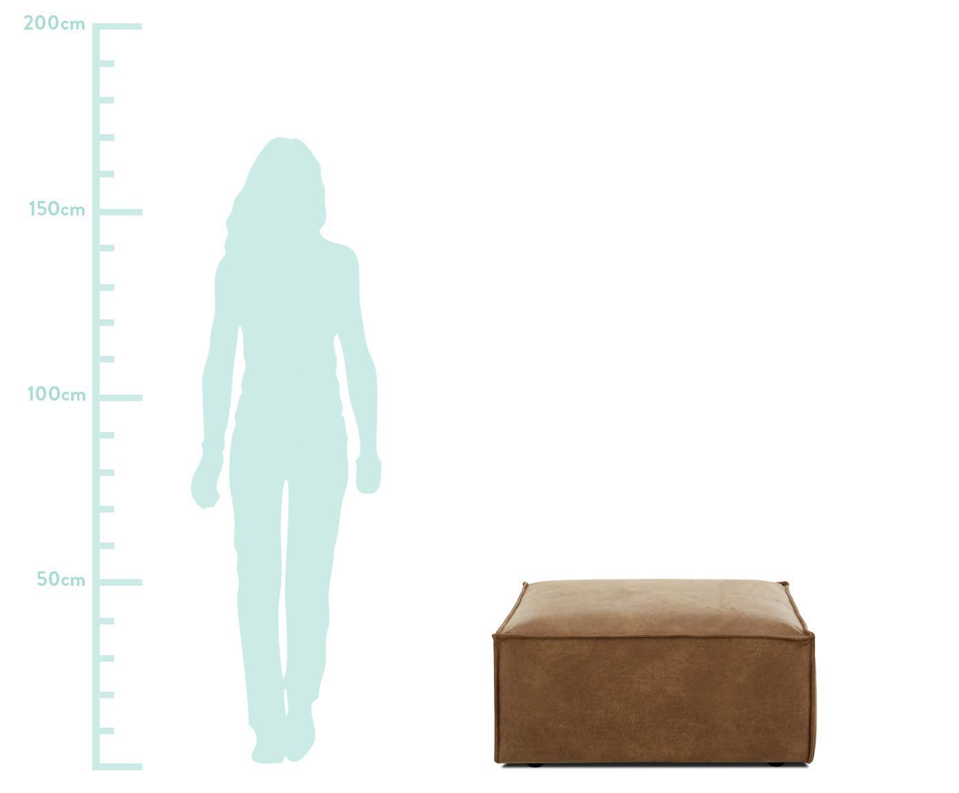 Reposapiés de cuero Lennon, Tapizado: 70%cuero, 30%poliéster , Estructura: madera de pino maciza, ma, Patas: plástico, Marrón, An 88 x Al 43 cm