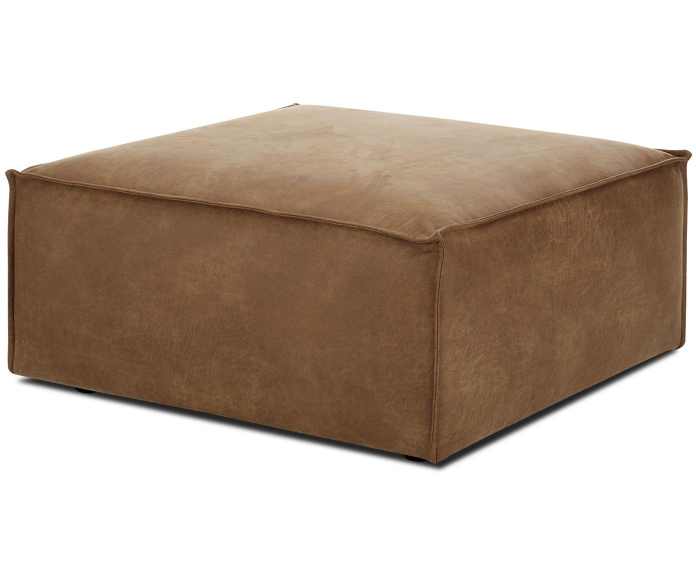 Leren voetenbank Lennon, Bekleding: 70% leer, 30% polyester, Frame: massief grenenhout, multi, Poten: kunststof, Bruin, 88 x 43 cm