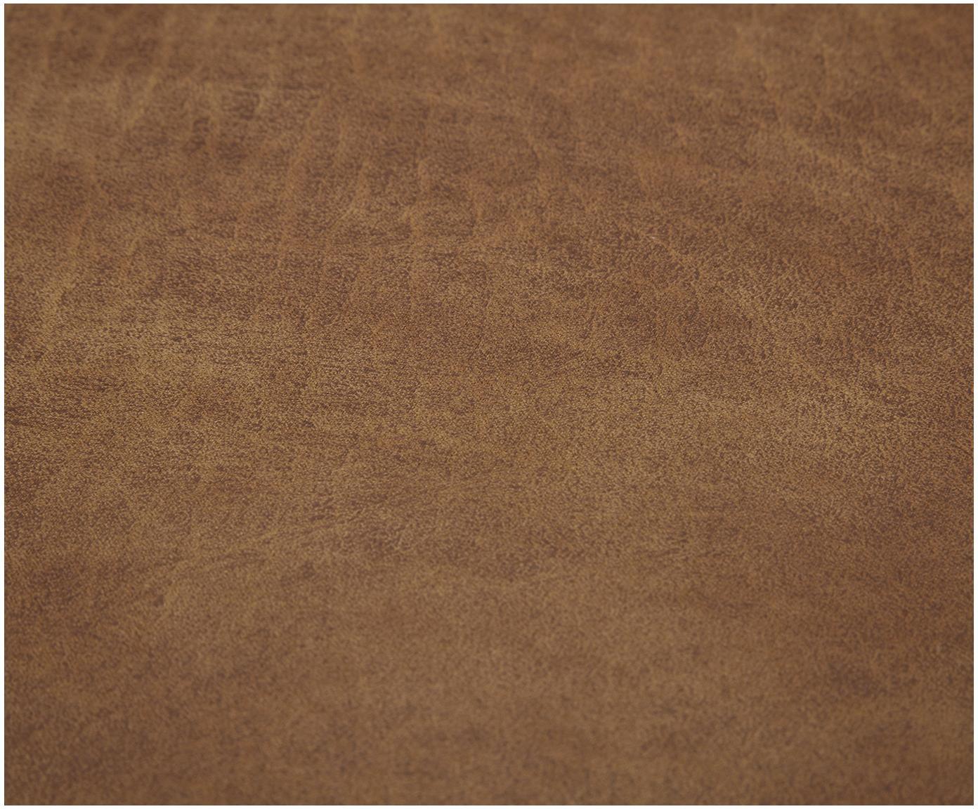Puf ze skóry Lennon, Tapicerka: 70% skóra, 30% poliester , Stelaż: lite drewno sosnowe, płyt, Nogi: tworzywo sztuczne, Brązowy, S 88 x W 43 cm