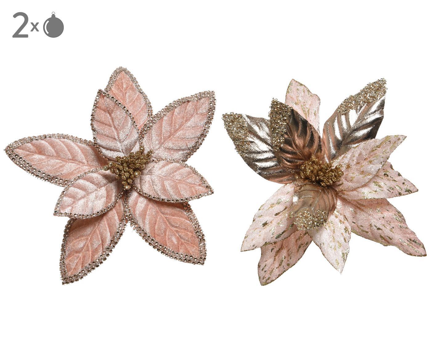 Komplet ozdób choinkowych z aksamitu Nanu, 2elem., Aksamit poliestrowy, połyskujący, Blady różowy, odcienie złotego, S 29 x W 29 cm