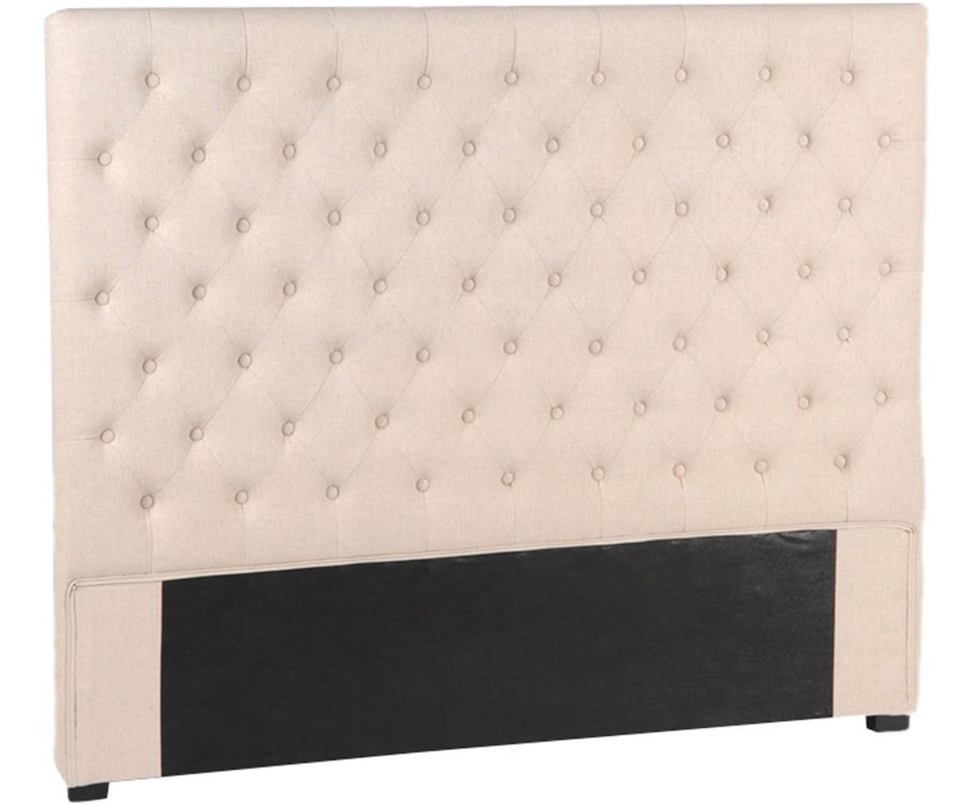 Cabecero Lino, Estructura: madera de bayur, tablero , Tapizado: algodón, poliéster, Beige, An 160 x Al 120 cm