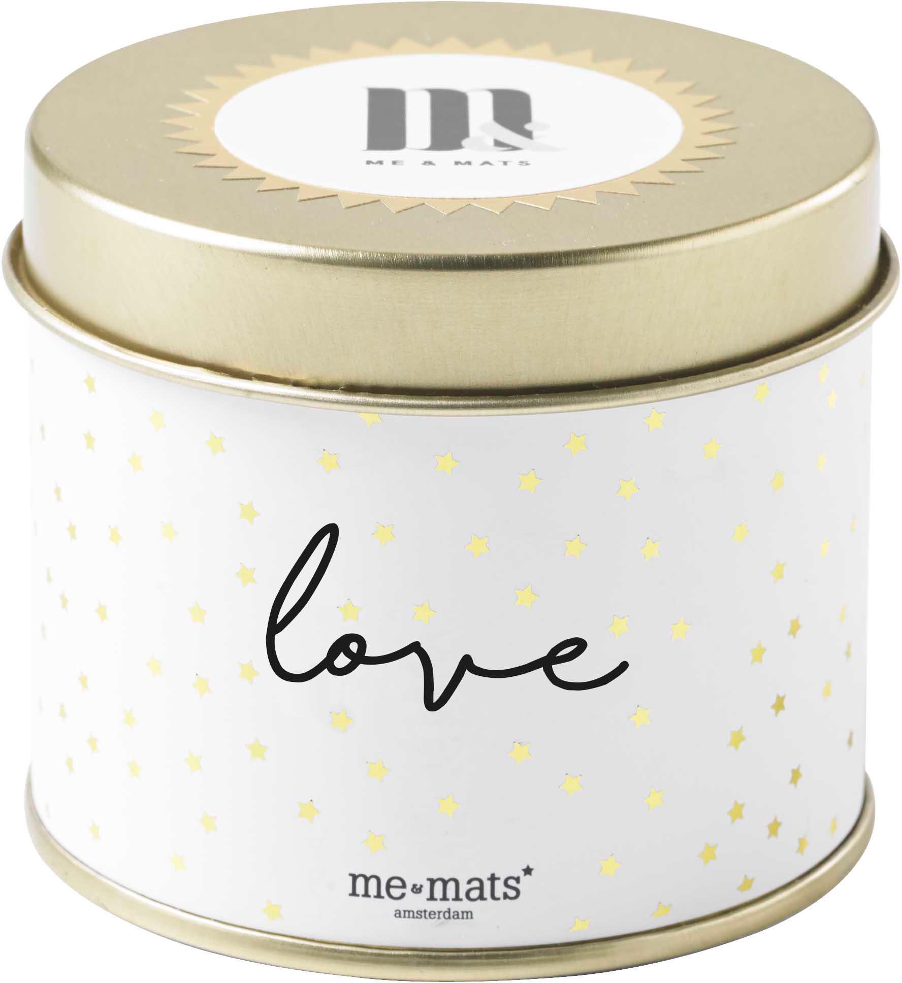 Duftkerze Love (Grapefruit, Patschuli & Wassermelone), Behälter: Metall, beschichtet, Goldfarben, Weiß, Schwarz, Ø 8 x H 7 cm