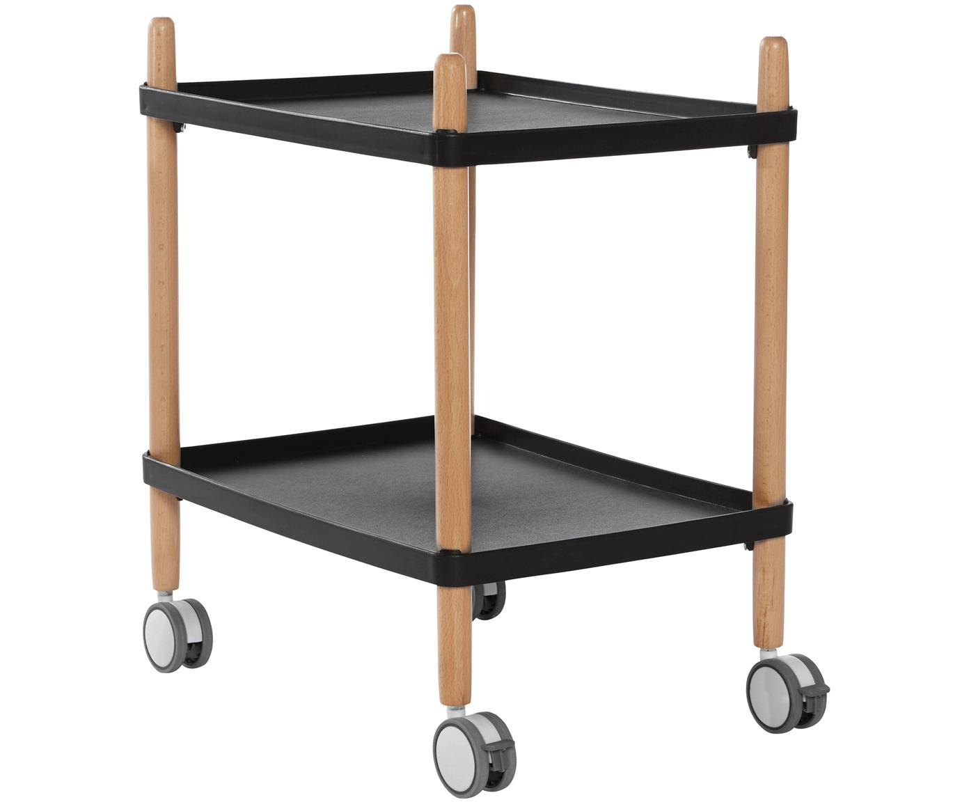 Skandi Servierwagen Åsa, Gestell: Buchenholz, beschichtet, Rollen: Kunststoff, Schwarz, Buchenholz, 50 x 60 cm