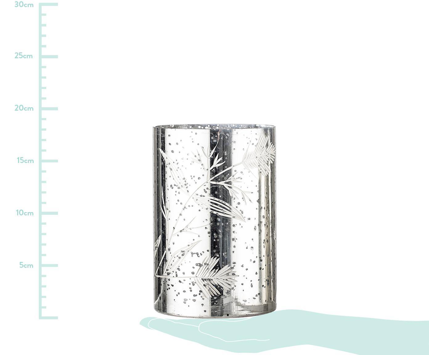 Windlicht Silva, Glas, Silberfarben, Ø 12 x H 19 cm